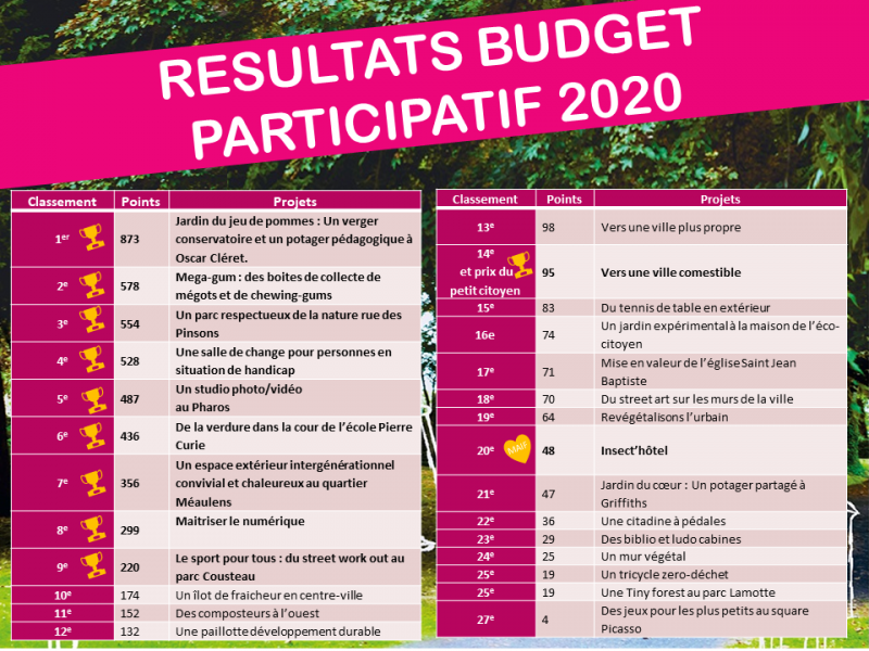RESULTATS BUDGET PARTICIPATIF 2020